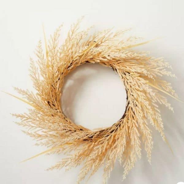 A wheat grass wreath on a grape vine form.