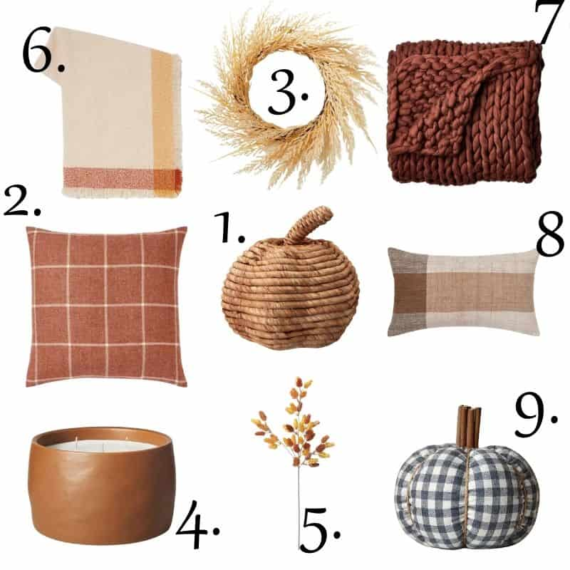 Nine different items from Target for fall home decor.