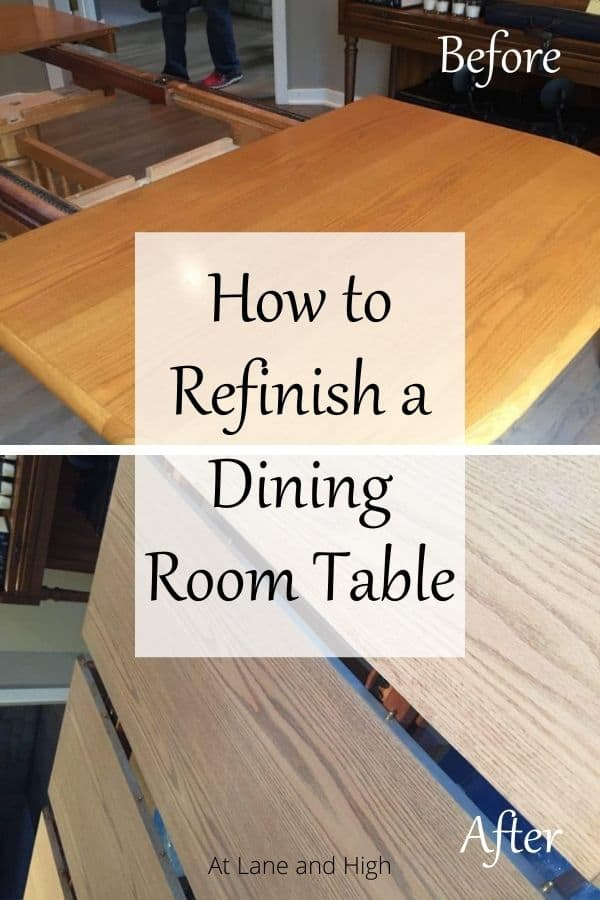 How to Refinish a Dining Table pin for Pinterest.