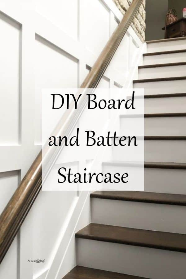 DIY Board and Batten Staircase pin for Pinterest.
