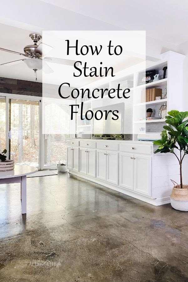 How to Stain Concrete Floors pin for Pinterest.