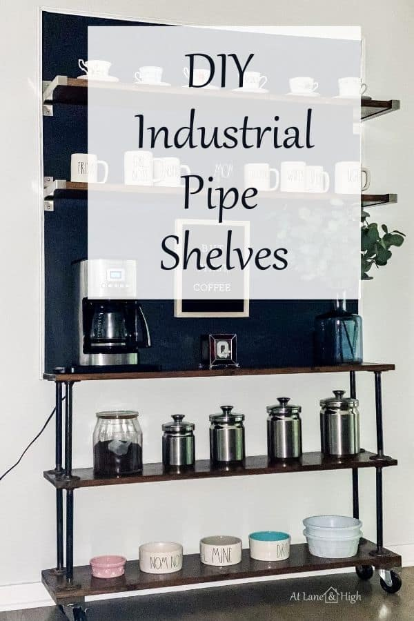 How to build industrial pipe shelves pin for Pinterest.