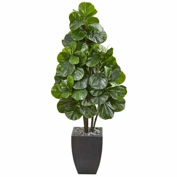 A faux fiddle leaf fig tree in a black pot with a white background.