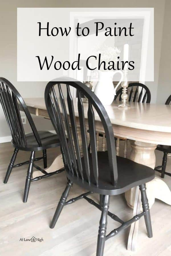 how to paint wood chairs pin for Pinterest.
