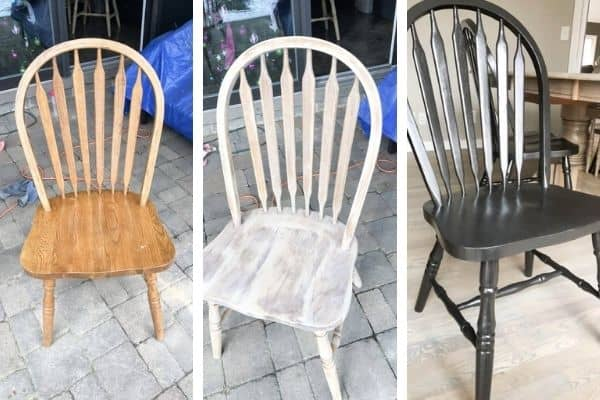 A three photo slide of the chairs before, during and after I painted them.