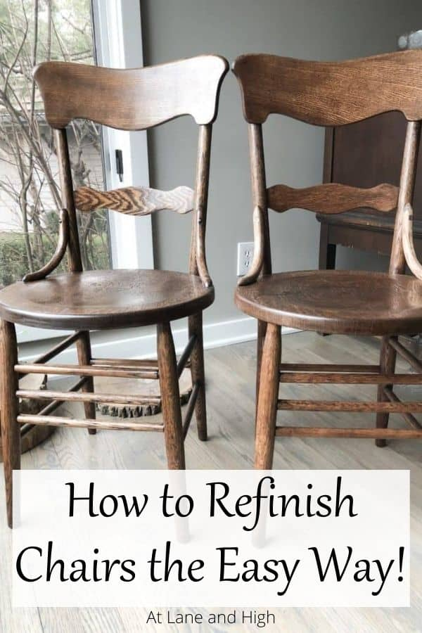 How to refinish chairs without stripper pin for Pinterest.