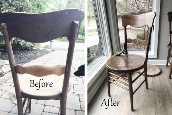 A side by side before and after of my antique chairs.
