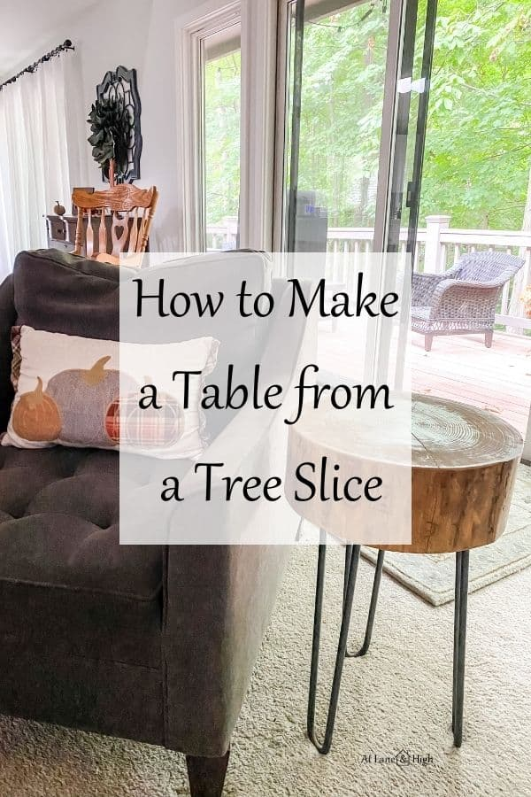 Wood slice side table pin for Pinterest.