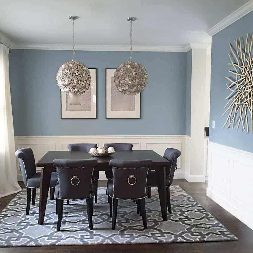 Nimbus on the walls in a dining room with white wainscoting, dark hardwood floors and a dark wood table and chairs.