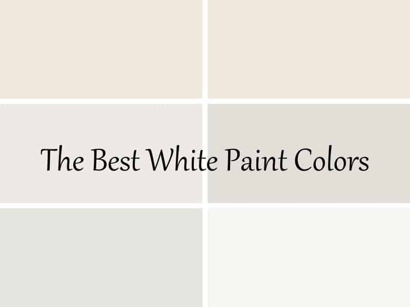 6 white paint colors in a grid with the best white paint colors text overlay